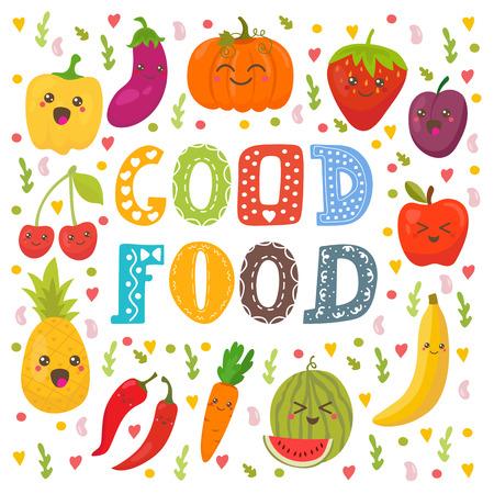 buena salud: Buena comida. frutas y verduras feliz lindo en el vector. Tarjeta concepto de comida sana. ilustraci�n vectorial