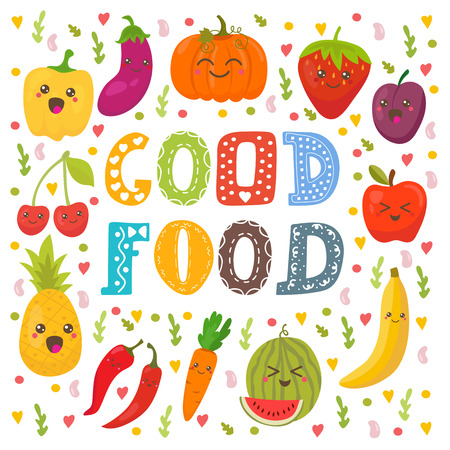 good health: Good food. Cute happy fruits and vegetables in vector. Healthy food concept card. Vector illustration Illustration