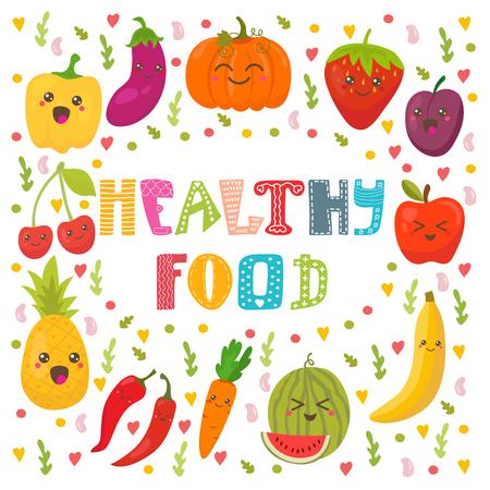 건강 식품 개념 카드입니다. 귀여운 행복 한 과일 및 야채 벡터입니다. 벡터 일러스트 레이 션