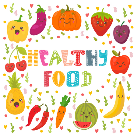 Healthy food concept card. Cute happy fruits and vegetables in vector. Vector illustration