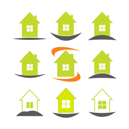 house logo: House icon set. Real estate logo template. Vector illustration