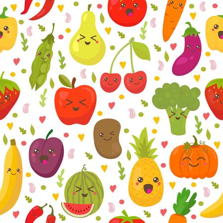 Naadloos patroon met verse groenten en fruit. Vegetarische achtergrond. Gezonde levensstijl. Vector illustratie