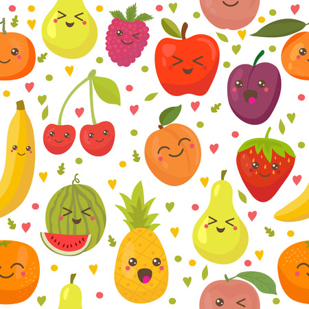 kawaii: Seamless pattern with happy fruits. Cute background. Vector illustration