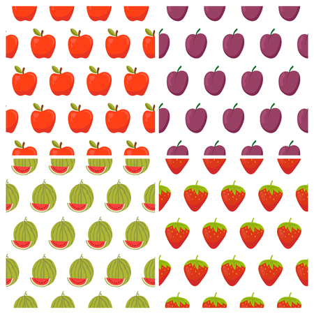 food backgrounds: Set of fruit seamless patterns. Healthy food backgrounds with fruits and berries. Vector illustration Illustration