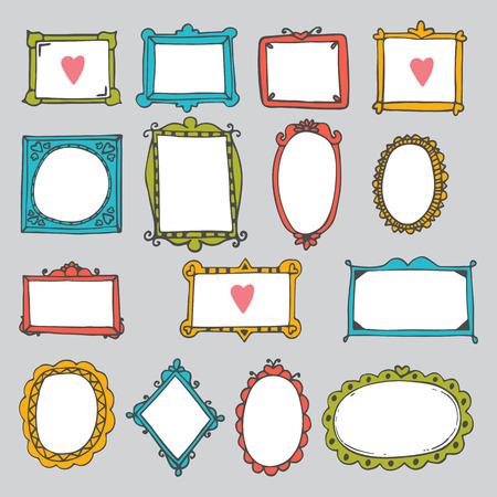 Set of hand drawn frames. Cute design elements. Sketchy ornamental frames and borders. Vector illustration