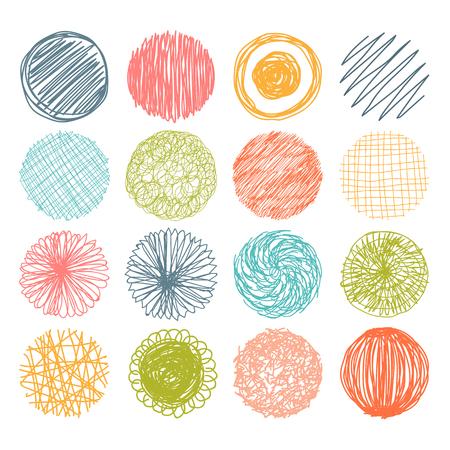 marcos redondos: Conjunto de c�rculos dibujados a mano garabatos. Elementos de dise�o vectorial. Ilustraci�n vectorial