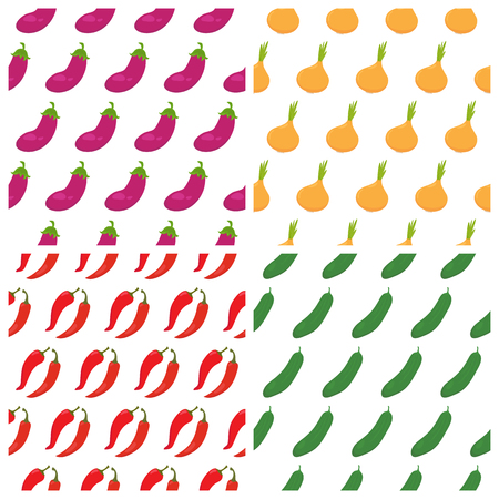 food backgrounds: Set of vegetables seamless patterns. Healthy food backgrounds. Vector illustration