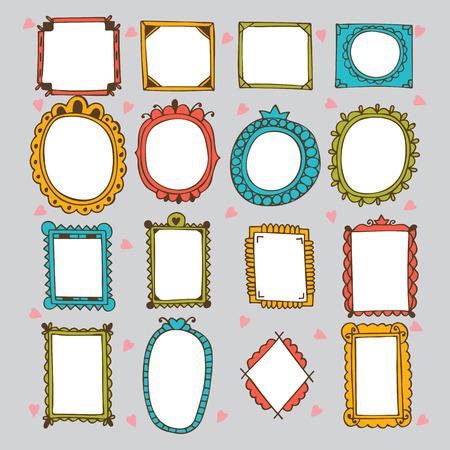 borde de flores: Sketchy marcos ornamentales y las fronteras. Establece Doodles marco. Dibujado a mano elementos de dise�o vectorial. Ilustraci�n vectorial