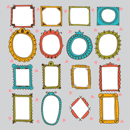 frame: Sketchy ornamental frames and borders. Doodles frame set. Hand drawn vector design elements. Vector illustration
