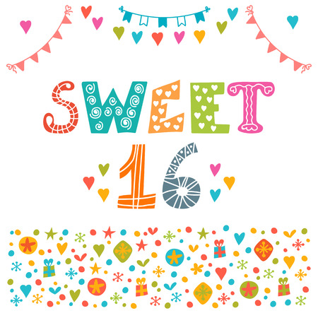 banner background: Sweet sixteen. Invitation flyer template design. Cute hand drawn postcard. Vector illustration