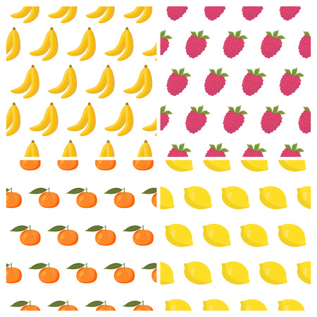 food backgrounds: Vector seamless patterns set with fruits. Healthy food backgrounds with fruits and berries. Vector illustration Illustration