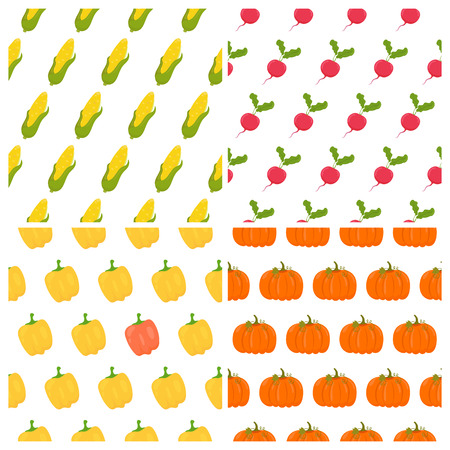 food backgrounds: Vegetables seamless patterns set. Healthy food backgrounds. Vector illustration