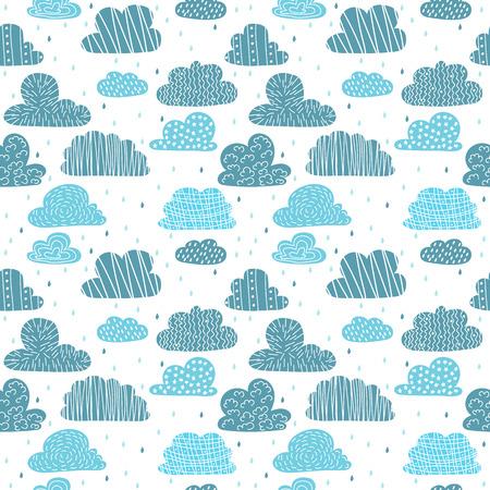 귀여운 손 구름 원활한 패턴을 그려. 일러스트