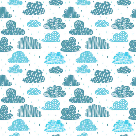 Cute hand drawn seamless pattern with clouds.