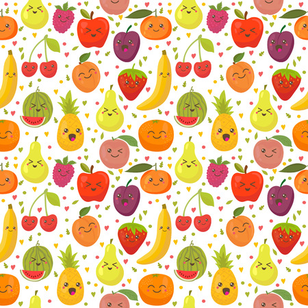 Seamless pattern with happy fruits. Cute background for your design. Vector illustration