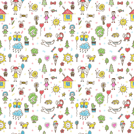 kid drawing: Hand drawn funny children drawings color seamless pattern. Doodle children drawing background. Vector illustration