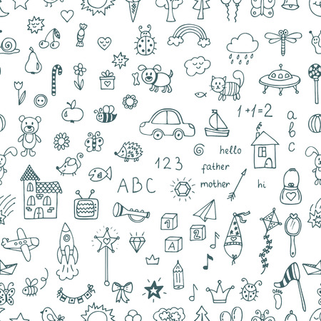 Cute hand drawn children drawings seamless pattern. Doodle children drawing background. Vector illustration  イラスト・ベクター素材