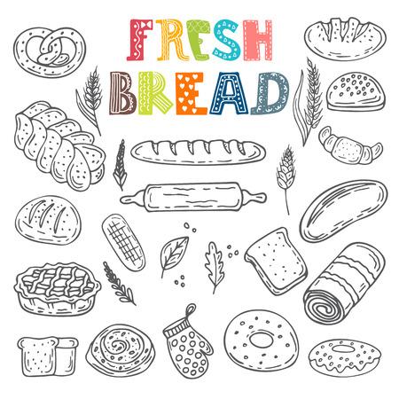 cooking healthy: Colecci�n de vector de pan fresco. conjunto panader�a estilo del bosquejo dibujado a mano. ilustraci�n vectorial Vectores