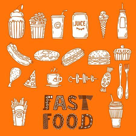kitchen cartoon: Colecci�n de varios elementos del alimento y garabatos bosquejos. dibujado a mano conjunto de comida r�pida. ilustraci�n vectorial