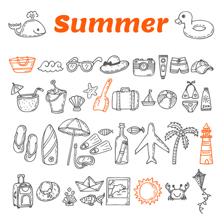 Hand drawn summer collection. Beach theme doodle set. Travel collection. Summer time icons set. Vector illustration