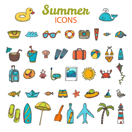 Beach icons collection. Hand drawn summer vector icon set.  Vacation. Vector illustration