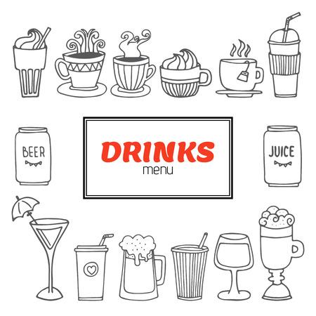 Ensemble de vecteur de boissons et de boissons dessiné à la main. Boîte de menu boissons. Illustration vectorielle Vecteurs