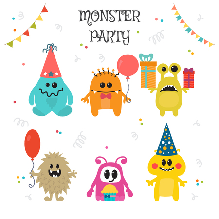 goofy: Cute little monsters birthday party. Vector illustration Illustration