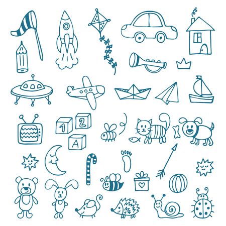 boy kid: Hand drawn toys for boys. Vector set of different toys. Vector illustration