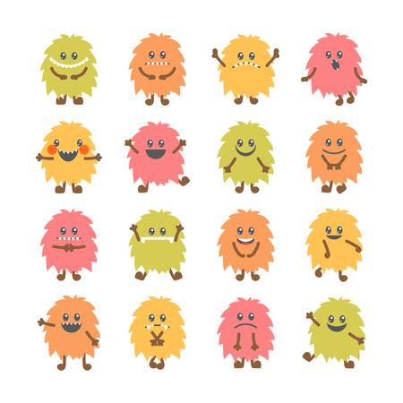 Set of cartoon funny smiley monsters. Collection of different cute fluffy monsters characters. Vector illustration