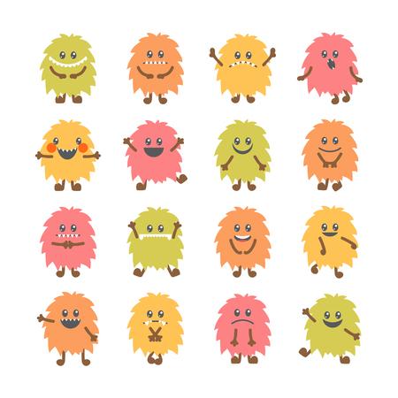 Set van cartoon funny smiley monsters. Het verzamelen van verschillende leuke pluizige monsters karakters. vector illustratie