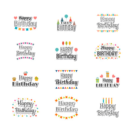 Set of Happy Birthday greeting cards. Cute postcard for your design. Vector illustration