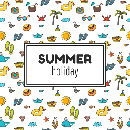 vacation: Summer holiday. Summer tropical vacation background. Cute hand drawn greeting card. Vector illustration