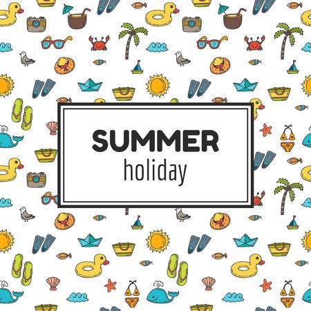 summer: Vacaciones de verano. Fondo de verano vacaciones tropicales. dibujados mano linda tarjeta de felicitación. ilustración vectorial Vectores
