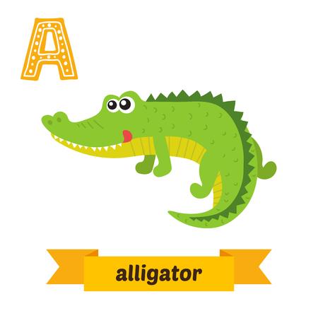 Aligator. List. Śliczne dzieci Alfabet zwierząt w wektorze. Śmieszne zwierzęta kreskówek. ilustracji wektorowych