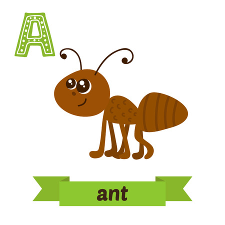 spelling book: Ant. A letter. Cute children animal alphabet in vector. Funny cartoon animals. Vector illustration Illustration