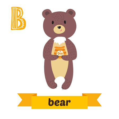 Bear. B letter. Cute children animal alphabet in vector. Funny cartoon animals. Vector illustration Ilustração