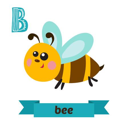 Bee. B letter. Cute children animal alphabet in vector. Funny cartoon animals. Vector illustration