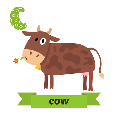 spelling book: Cow. C letter. Cute children animal alphabet in vector. Funny cartoon animals. Vector illustration