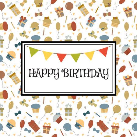 greeting card background: Happy Birthday greeting card. Cute birthday background. Vector illustration Illustration
