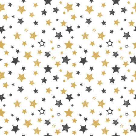 Seamless pattern with hand drawn stars. Stylish background. Vector illustration