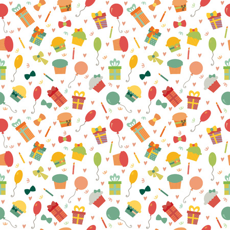 Cute Happy Birthday seamless pattern with colorful party elements. Party background for your design. Vector illustration Ilustração