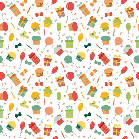 Sin patrón lindo del feliz cumpleaños con elementos coloridos de la fiesta. Parte de fondo para su diseño. ilustración vectorial
