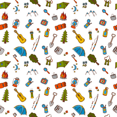 Hand drawn camping and hiking seamless pattern in color. Doodle camping elements. Picnic, travel, hiking and camping. Vector illustration