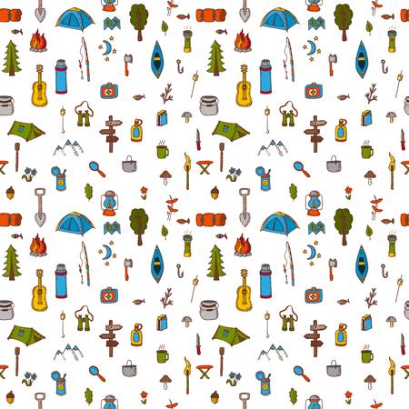 Hand getrokken kamperen en wandelen naadloos patroon. Doodle camping elementen op een witte achtergrond. Picknick, wandelen, reizen en kamperen. vector illustratie