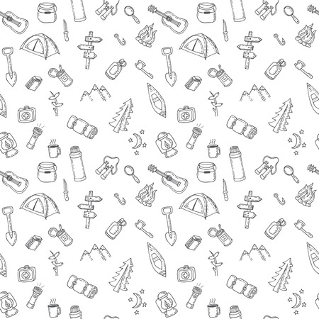 wooden shoes: Hand drawn camping and hiking seamless pattern. Picnic, hiking, travel and camping. Doodle camping elements. Vector illustration Illustration