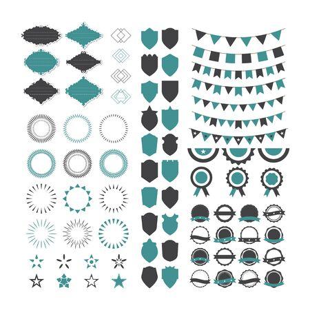 starbursts: Collection of premium design elements. Set of geometric shapes, stamps, starbursts, frames, garlands,  trendy hipster logotypes, star shapes and shields. Vector illustration