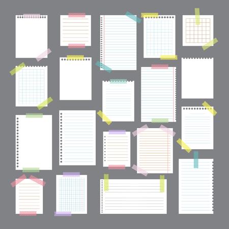 Collection de différents papiers avec différentes bandes de bande. Des éléments de conception mignons. Illustration vectorielle Vecteurs