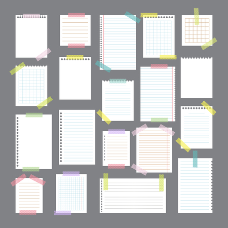Collection of various note papers with different tape strips. Cute design elements. Vector illustration Stock Illustratie