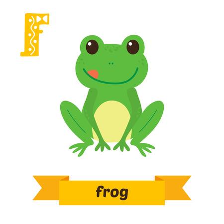 Frog. F letter. Cute children animal alphabet in vector. Funny cartoon animals. Vector illustration