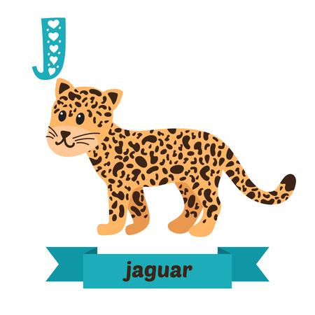 cartoon jaguar: Jaguar. J letter. Cute children animal alphabet in vector. Funny cartoon animals. Vector illustration